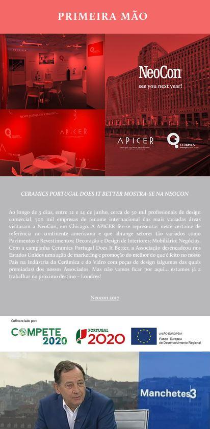 Newsletter Junho 2017 , Cerâmica e Cristalaria Revelam-se nos EUA * Presidente da APICER na RTP * Economia Circular