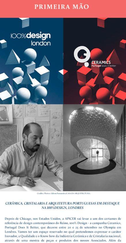 Newsletter Setembro 2017 , APICER leva Cerâmica, Cristalaria e Arquitetura a Londres