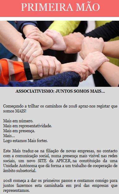 Newsletter Janeiro 2018 , Associativismo: Juntos somos mais...