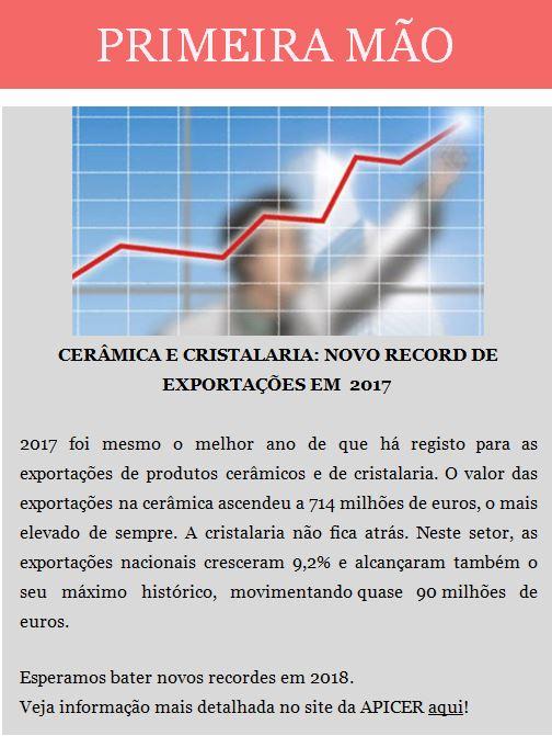 Newsletter Fevereiro 2018 , Cerâmica e Cristalaria : Novo Record de Exportações em 201