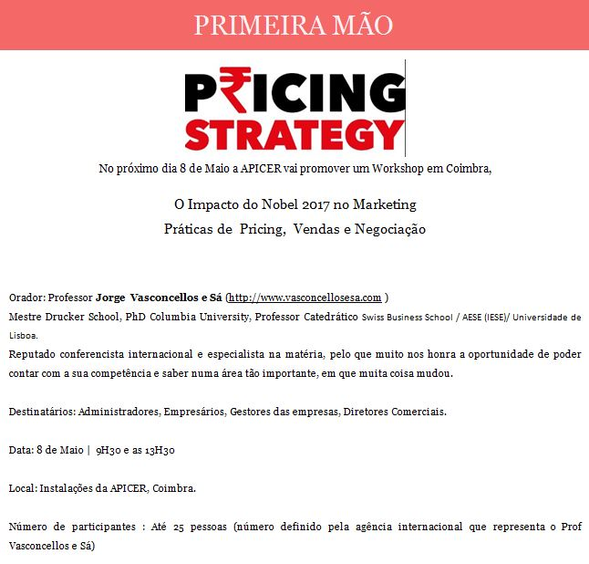 Newsletter Abril 2018 , Workshop Pricing Strategy