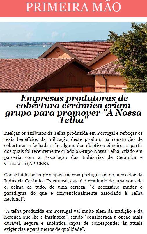 Newsletter Julho 2018 , Empresas produtoras de cobertura cerâmica criam grupo para promover