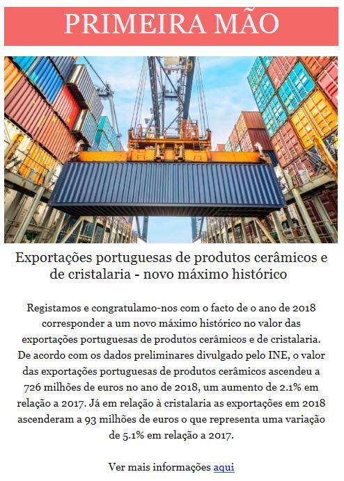 Newsletter Fevereiro 2019 , Novo máximo histórico das exportações de produtos Cerâmicos e de Cristalaria