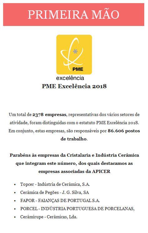 Newsletter Abril 2019 , A Cerâmica e a Cristalaria galardoadas com PME Excelência 2018