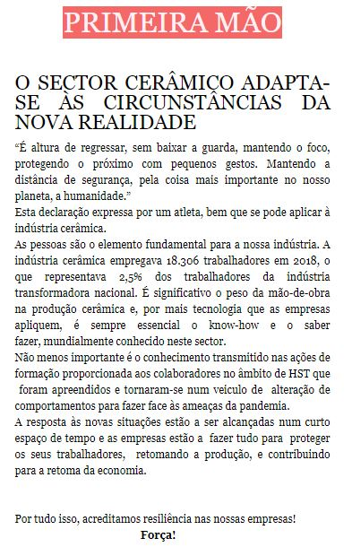 Newsletter Maio 2020 ,  O SECTOR CERÂMICO ADAPTA-SE ÀS CIRCUNSTÂNCIAS DA NOVA REALIDADE