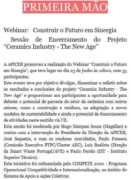 """Newsletter Junho 2020 , Webinar:   Construir o Futuro em Sinergia   Sessão de Encerramento do Projeto """"Ceramics Industry - The New Age"""""""