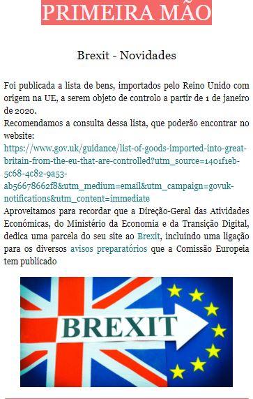 Newsletter Julho 2020 , Brexit - Novidades