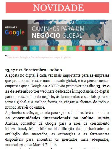 Newsletter Agosto 2020 , Caminhos para um Negócio Global