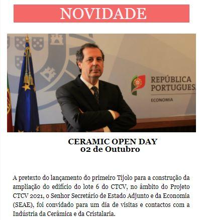 Newsletter Setembro 2020 , CERAMIC OPEN DAY - 02 de Outubro