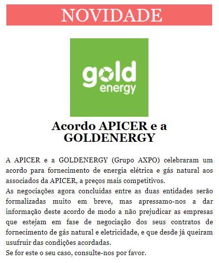 Newsletter Outubro 2020 , Acordo APICER e a GOLDENERGY