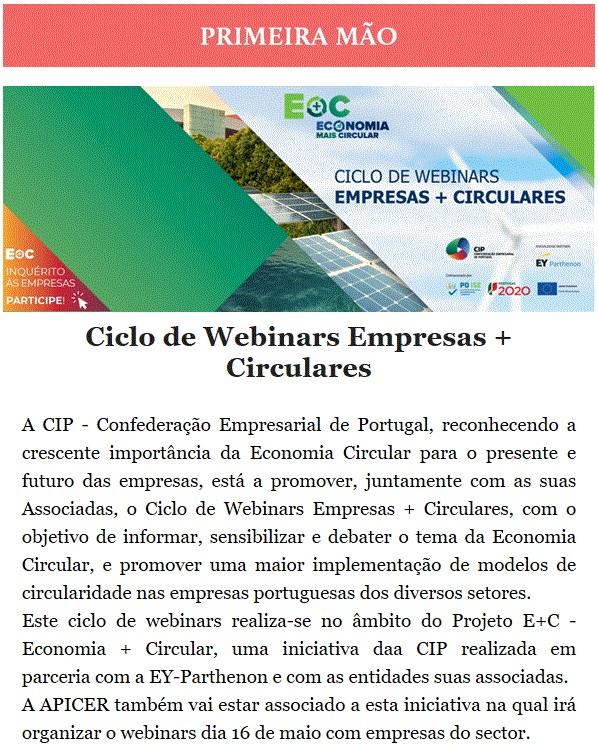Newsletter Maio 2021 , Ciclo de Webinars Empresas + Circulares